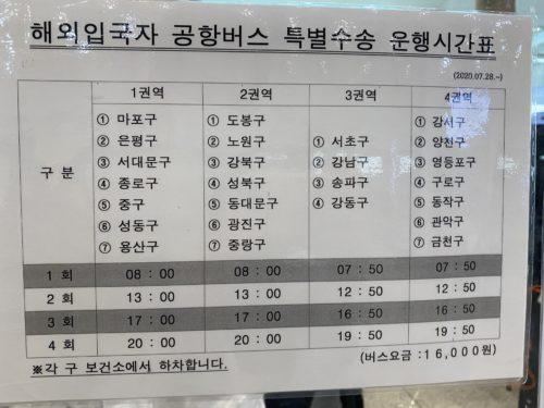ソウル市内行きバス時刻表